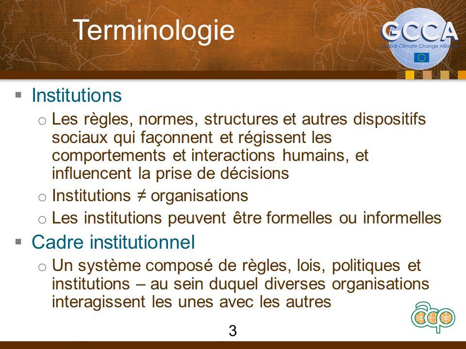 Terminologie  Institutions o Les règles, normes, structures et autres dispositifs sociaux qui façonnent et régissent les comportements et interaction
