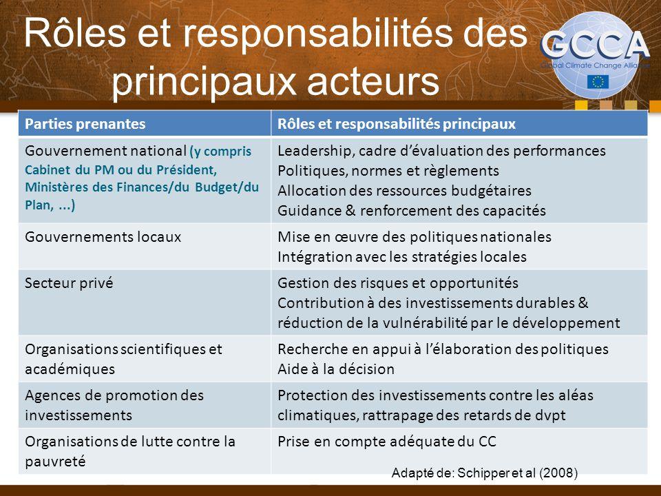 Rôles et responsabilités des principaux acteurs Parties prenantesRôles et responsabilités principaux Gouvernement national (y compris Cabinet du PM ou