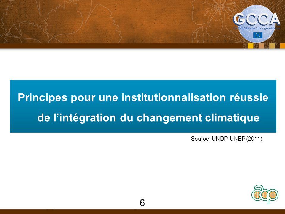 Principes pour une institutionnalisation réussie de l'intégration du changement climatique 6 Source: UNDP-UNEP (2011)