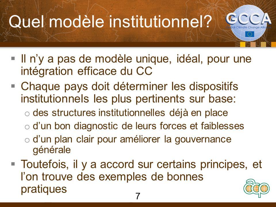 Quel modèle institutionnel?  Il n'y a pas de modèle unique, idéal, pour une intégration efficace du CC  Chaque pays doit déterminer les dispositifs