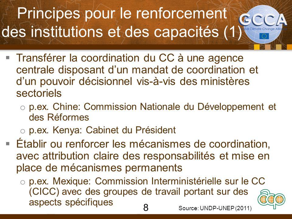 Principes pour le renforcement des institutions et des capacités (1)  Transférer la coordination du CC à une agence centrale disposant d'un mandat de coordination et d'un pouvoir décisionnel vis-à-vis des ministères sectoriels o p.ex.
