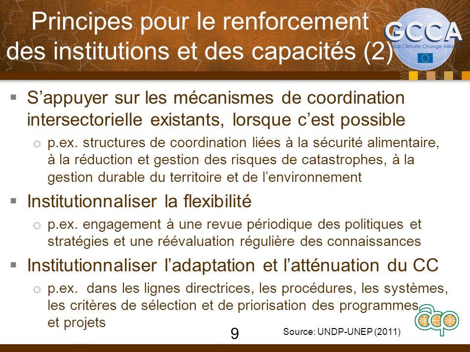  S'appuyer sur les mécanismes de coordination intersectorielle existants, lorsque c'est possible o p.ex. structures de coordination liées à la sécuri