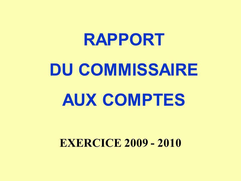 RAPPORT DU COMMISSAIRE AUX COMPTES EXERCICE 2009 - 2010