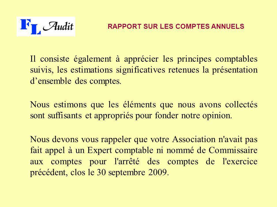 Il consiste également à apprécier les principes comptables suivis, les estimations significatives retenues la présentation d'ensemble des comptes. RAP