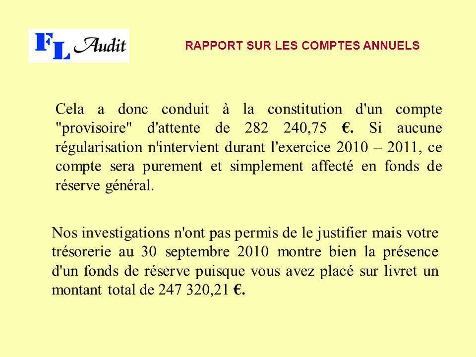 Nos investigations n ont pas permis de le justifier mais votre trésorerie au 30 septembre 2010 montre bien la présence d un fonds de réserve puisque vous avez placé sur livret un montant total de 247 320,21 €.