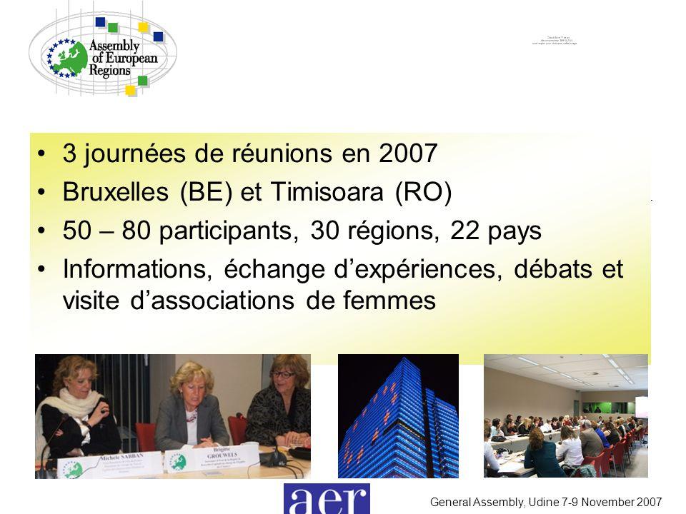 General Assembly, Udine 7-9 November 2007 3 journées de réunions en 2007 Bruxelles (BE) et Timisoara (RO) 50 – 80 participants, 30 régions, 22 pays Informations, échange d'expériences, débats et visite d'associations de femmes
