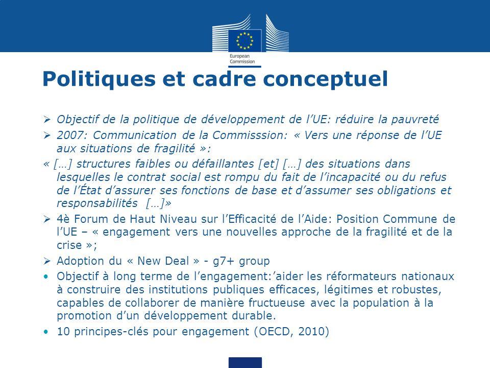 Politiques et cadre conceptuel  Objectif de la politique de développement de l'UE: réduire la pauvreté  2007: Communication de la Commisssion: « Vers une réponse de l'UE aux situations de fragilité »: « […] structures faibles ou défaillantes [et] […] des situations dans lesquelles le contrat social est rompu du fait de l'incapacité ou du refus de l'État d'assurer ses fonctions de base et d'assumer ses obligations et responsabilités […]»  4è Forum de Haut Niveau sur l'Efficacité de l'Aide: Position Commune de l'UE – « engagement vers une nouvelles approche de la fragilité et de la crise »;  Adoption du « New Deal » - g7+ group Objectif à long terme de l'engagement:'aider les réformateurs nationaux à construire des institutions publiques efficaces, légitimes et robustes, capables de collaborer de manière fructueuse avec la population à la promotion d'un développement durable.
