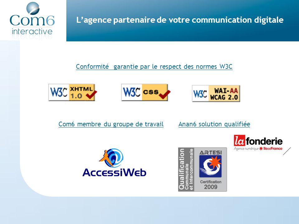 L'agence partenaire de votre communication digitale Conformité garantie par le respect des normes W3C Com6 membre du groupe de travail Anan6 solution qualifiée