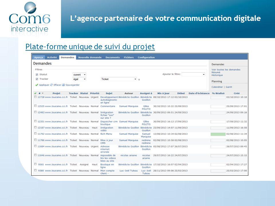 L'agence partenaire de votre communication digitale Plate-forme unique de suivi du projet