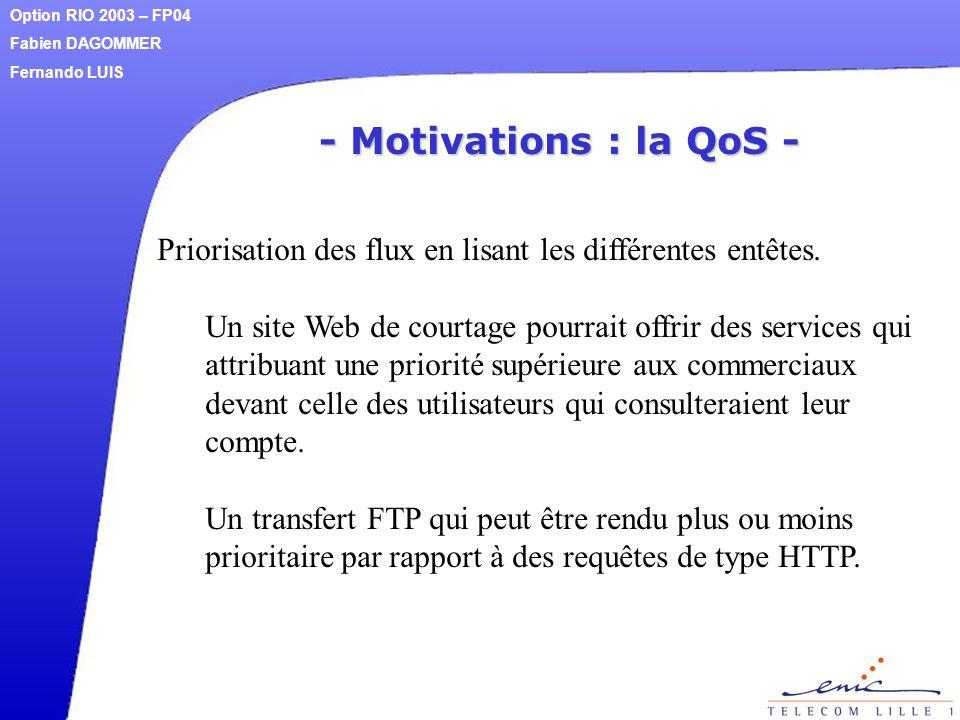 - Motivations : la QoS - Priorisation des flux en lisant les différentes entêtes. Un site Web de courtage pourrait offrir des services qui attribuant