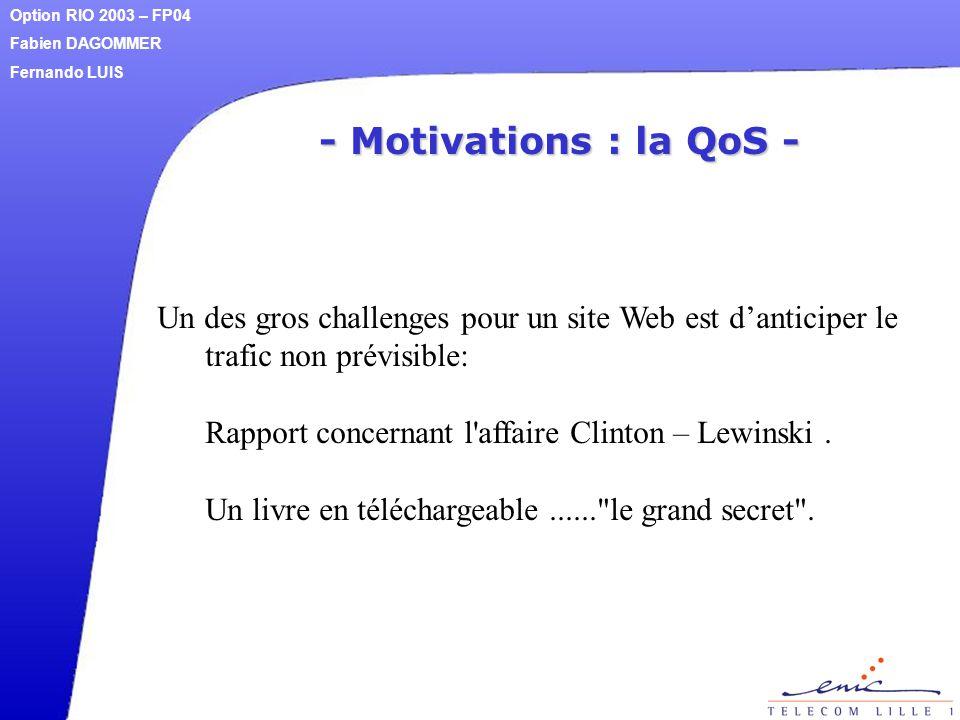 - Motivations : la QoS - Un des gros challenges pour un site Web est d'anticiper le trafic non prévisible: Rapport concernant l'affaire Clinton – Lewi
