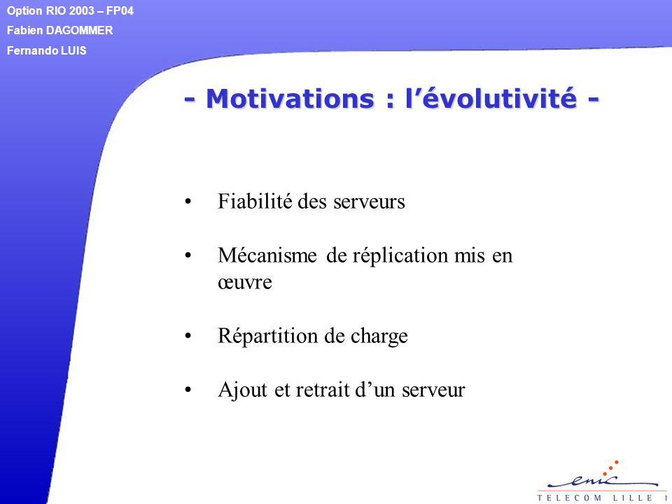 - Motivations : l'évolutivité - Fiabilité des serveurs Mécanisme de réplication mis en œuvre Répartition de charge Ajout et retrait d'un serveur Optio