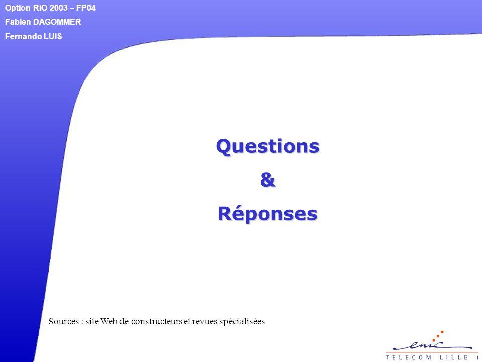 Questions&Réponses Option RIO 2003 – FP04 Fabien DAGOMMER Fernando LUIS Sources : site Web de constructeurs et revues spécialisées