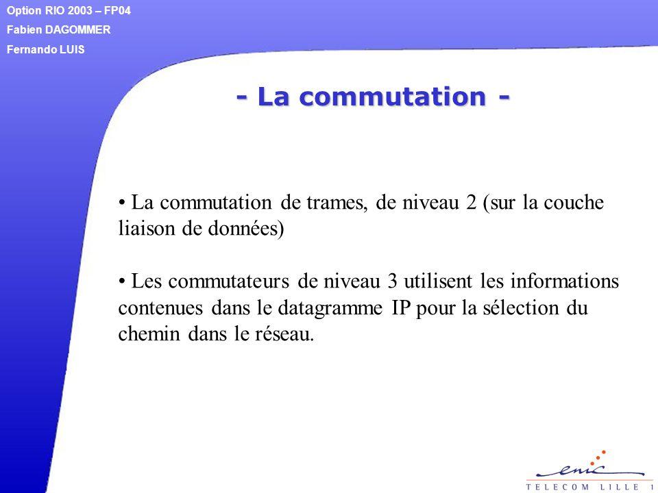 - La commutation - La commutation de trames, de niveau 2 (sur la couche liaison de données) Les commutateurs de niveau 3 utilisent les informations co