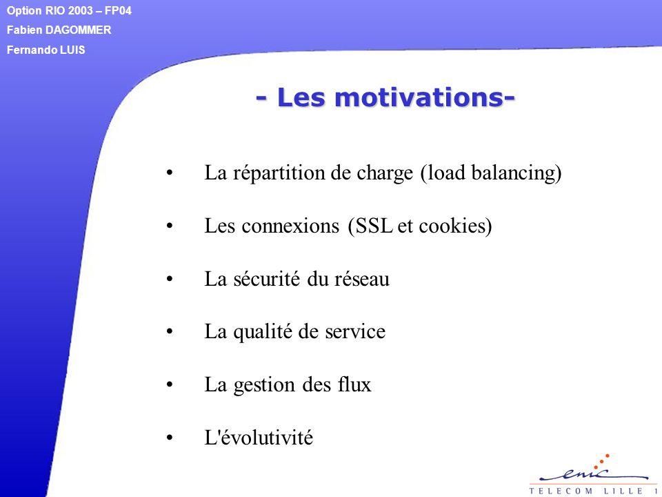 - Les motivations- La répartition de charge (load balancing) Les connexions (SSL et cookies) La sécurité du réseau La qualité de service La gestion de