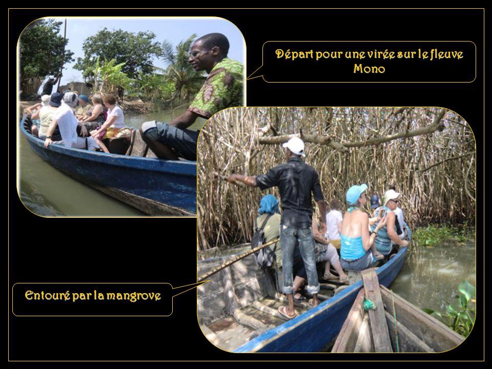 Départ pour une virée sur le fleuve Mono Entouré par la mangrove