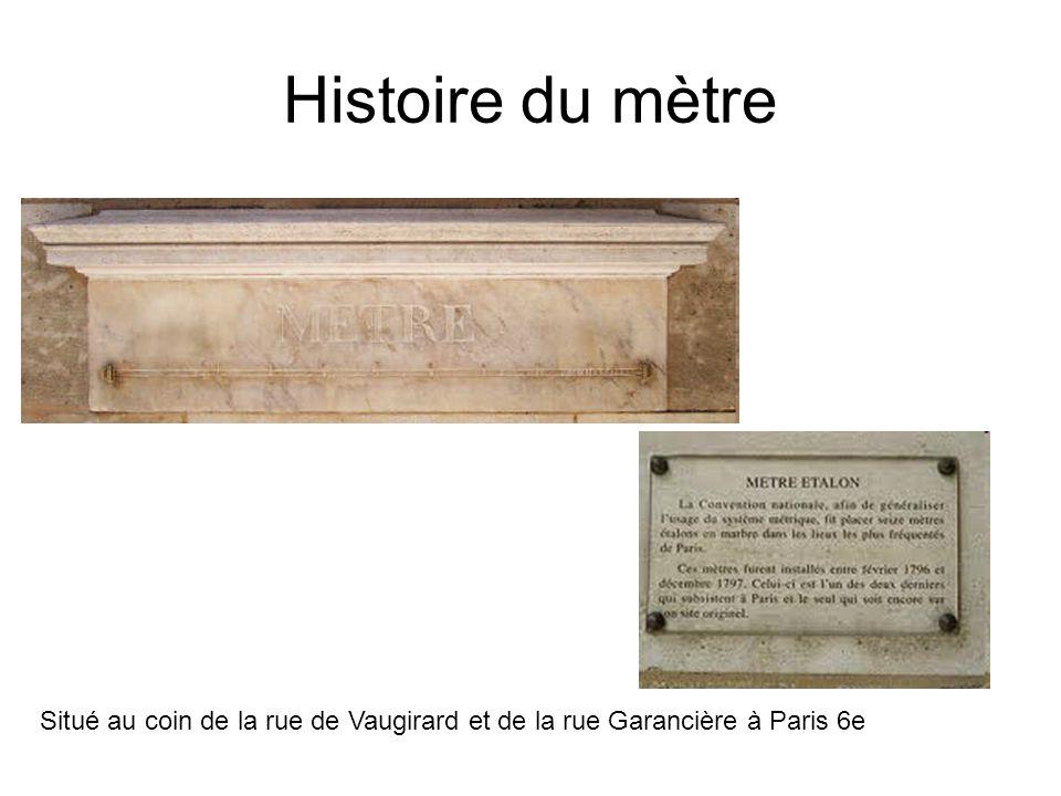 Histoire du mètre Situé au coin de la rue de Vaugirard et de la rue Garancière à Paris 6e