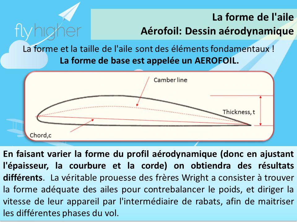 www.flyhigher.eu La forme et la taille de l'aile sont des éléments fondamentaux ! La forme de base est appelée un AEROFOIL. En faisant varier la forme