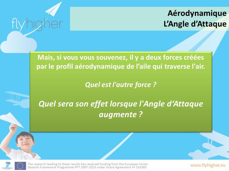 www.flyhigher.eu Mais, si vous vous souvenez, il y a deux forces créées par le profil aérodynamique de l'aile qui traverse l'air. Quel est l'autre for