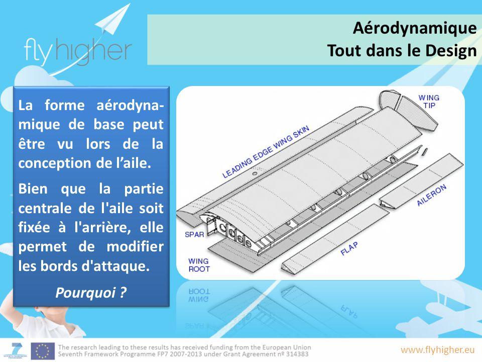 www.flyhigher.eu La forme aérodyna- mique de base peut être vu lors de la conception de l'aile. Bien que la partie centrale de l'aile soit fixée à l'a