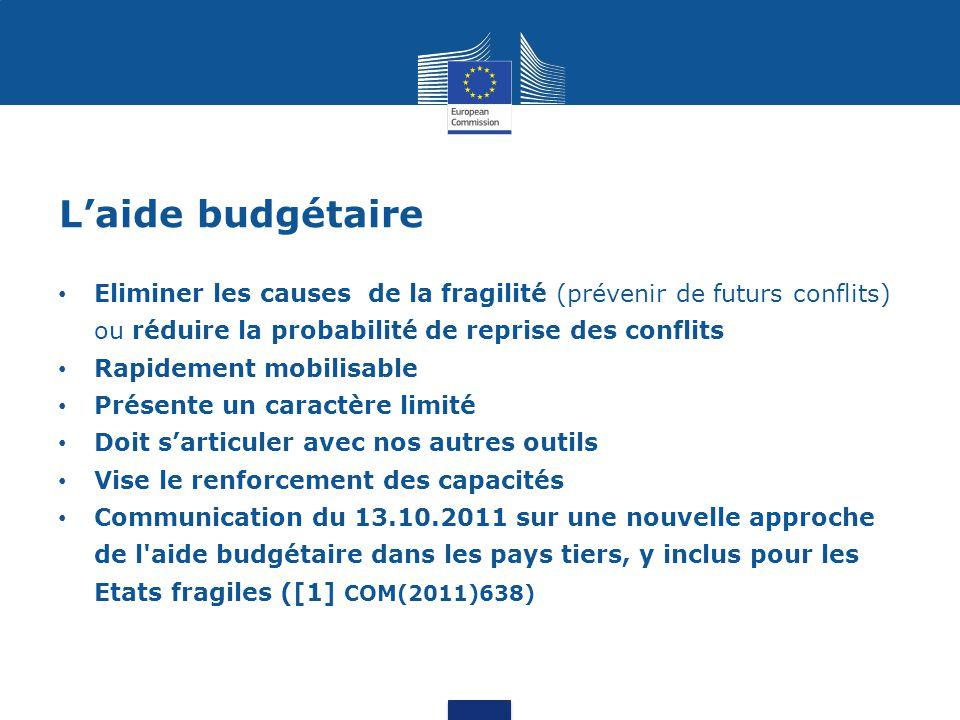 L'aide budgétaire Eliminer les causes de la fragilité (prévenir de futurs conflits) ou réduire la probabilité de reprise des conflits Rapidement mobil