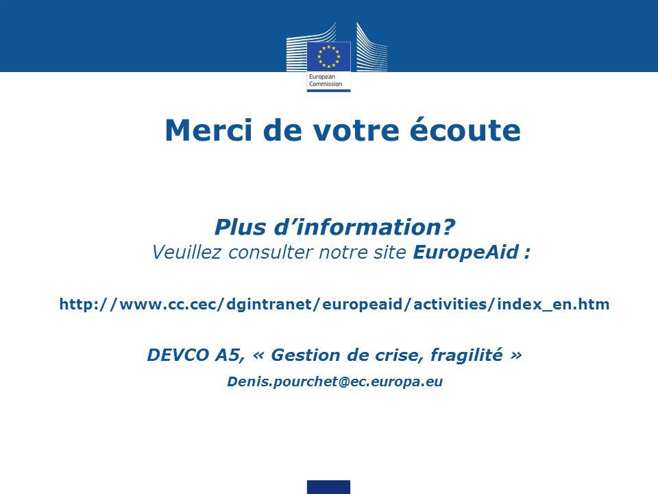 Merci de votre écoute Plus d'information? Veuillez consulter notre site EuropeAid : http://www.cc.cec/dgintranet/europeaid/activities/index_en.htm DEV