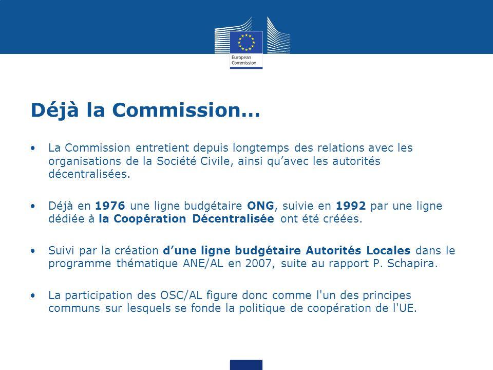 Déjà la Commission… La Commission entretient depuis longtemps des relations avec les organisations de la Société Civile, ainsi qu'avec les autorités d
