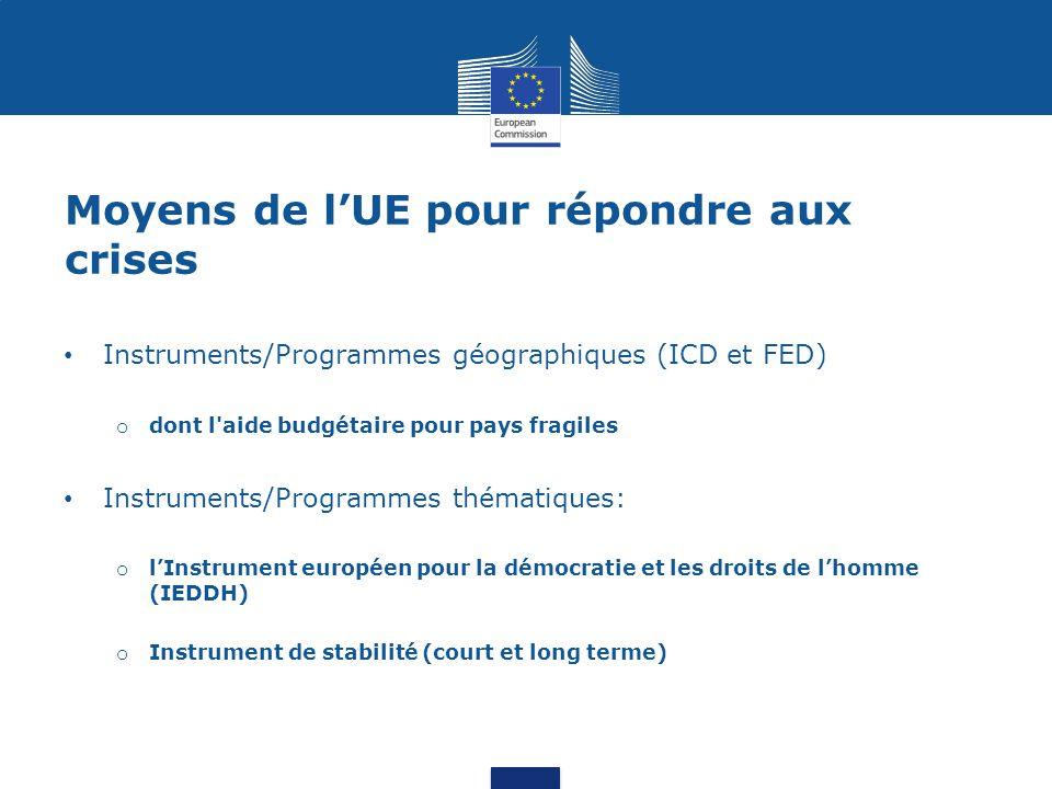Moyens de l'UE pour répondre aux crises Instruments/Programmes géographiques (ICD et FED) o dont l'aide budgétaire pour pays fragiles Instruments/Prog