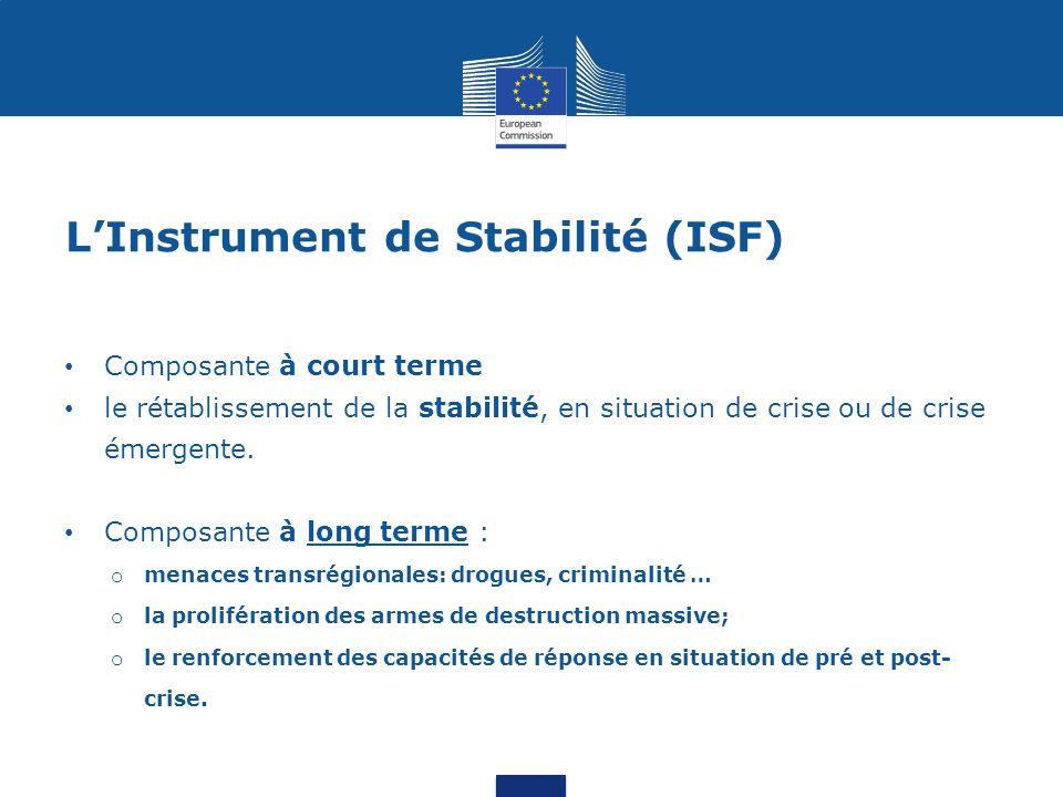 L'Instrument de Stabilité (ISF) Composante à court terme le rétablissement de la stabilité, en situation de crise ou de crise émergente. Composante à