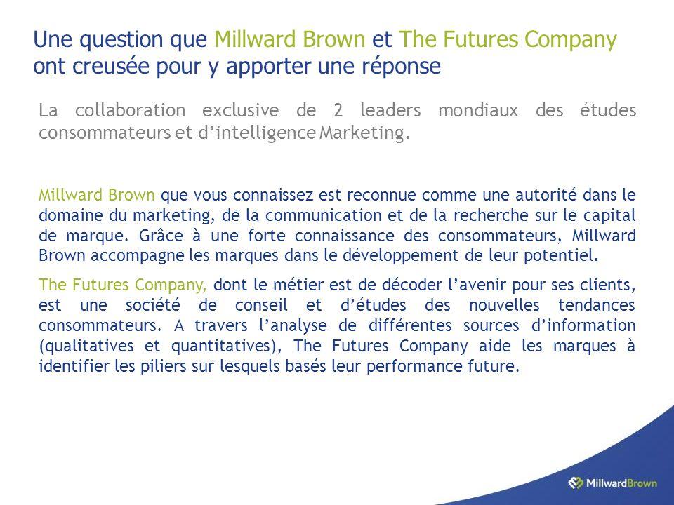 Une question que Millward Brown et The Futures Company ont creusée pour y apporter une réponse La collaboration exclusive de 2 leaders mondiaux des études consommateurs et d'intelligence Marketing.