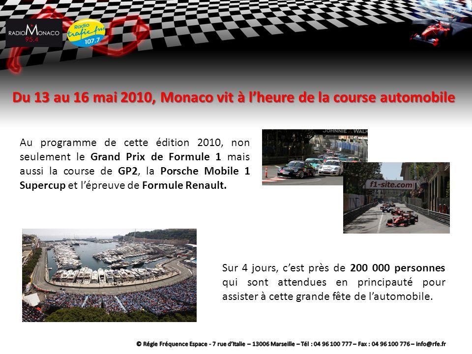 Du 13 au 16 mai 2010, Monaco vit à l'heure de la course automobile Au programme de cette édition 2010, non seulement le Grand Prix de Formule 1 mais aussi la course de GP2, la Porsche Mobile 1 Supercup et l'épreuve de Formule Renault.