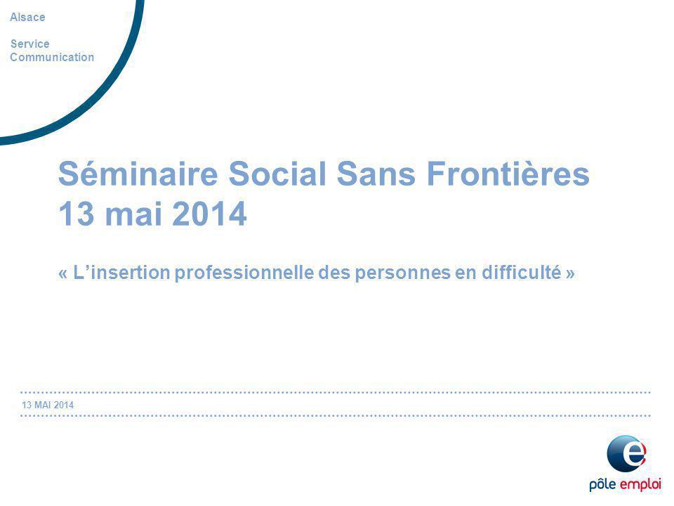 13 MAI 2014 Séminaire Social Sans Frontières 13 mai 2014 « L'insertion professionnelle des personnes en difficulté » Alsace Service Communication