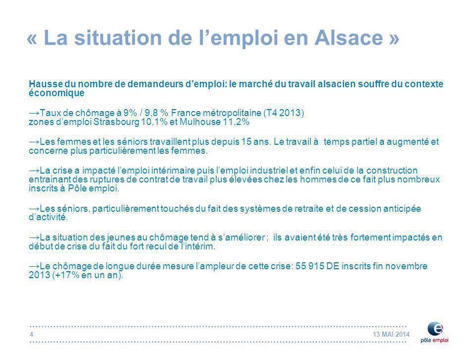 13 MAI 20144 « La situation de l'emploi en Alsace » Hausse du nombre de demandeurs d'emploi: le marché du travail alsacien souffre du contexte économique → Taux de chômage à 9% / 9,8 % France métropolitaine (T4 2013) zones d'emploi Strasbourg 10,1% et Mulhouse 11,2% → Les femmes et les séniors travaillent plus depuis 15 ans.
