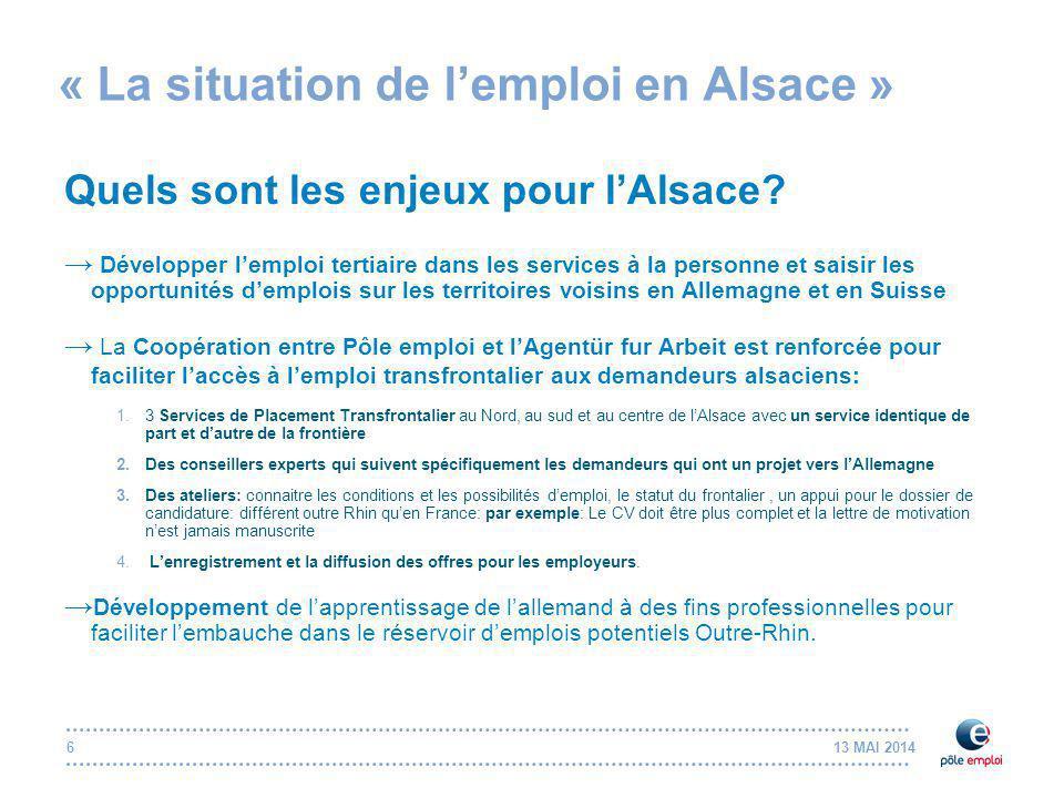 13 MAI 20147 « La situation de l'emploi en Alsace » Quels sont les métiers porteurs en Alsace .