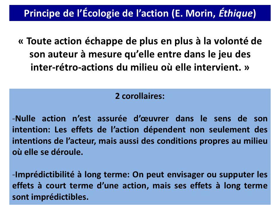 Principe de l'Écologie de l'action (E. Morin, Éthique) « Toute action échappe de plus en plus à la volonté de son auteur à mesure qu'elle entre dans l