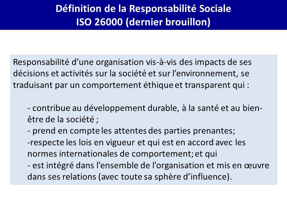 Responsabilité d'une organisation vis-à-vis des impacts de ses décisions et activités sur la société et sur l'environnement, se traduisant par un comp