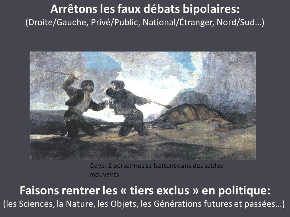 Arrêtons les faux débats bipolaires: (Droite/Gauche, Privé/Public, National/Étranger, Nord/Sud…) Faisons rentrer les « tiers exclus » en politique: (l