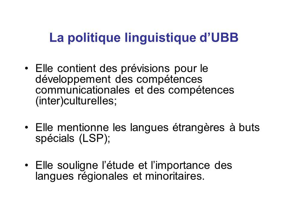 La politique linguistique d'UBB Elle contient des prévisions pour le développement des compétences communicationales et des compétences (inter)culturelles; Elle mentionne les langues étrangères à buts spécials (LSP); Elle souligne l'étude et l'importance des langues régionales et minoritaires.