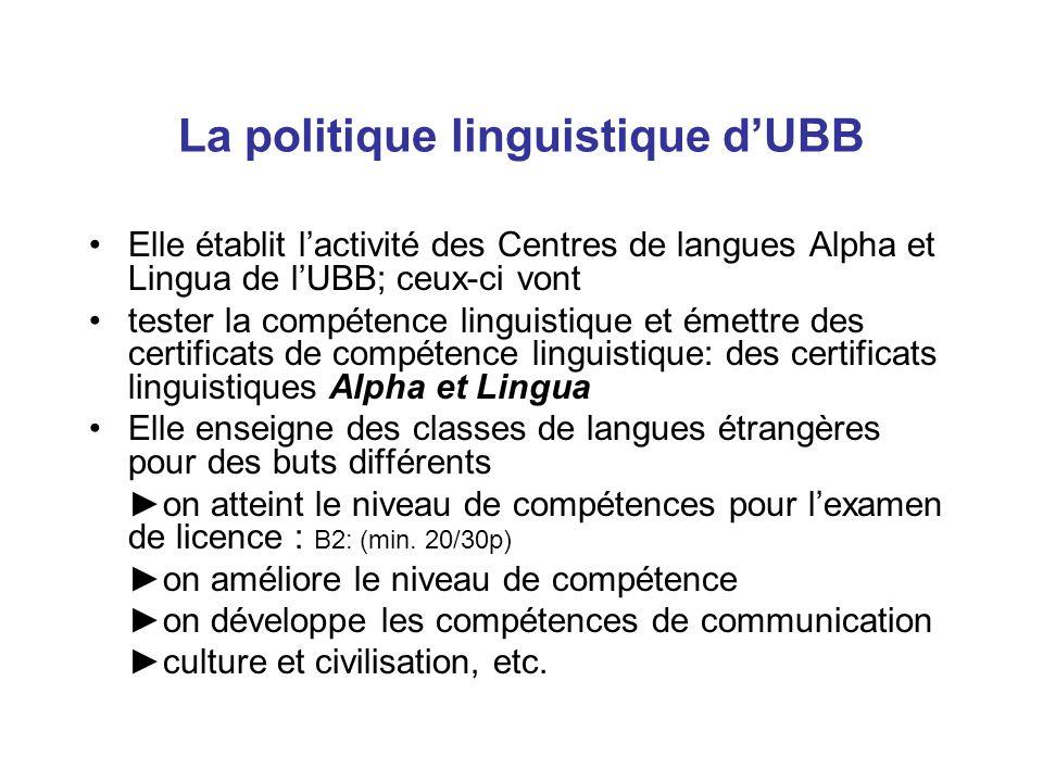 La politique linguistique d'UBB Elle établit l'activité des Centres de langues Alpha et Lingua de l'UBB; ceux-ci vont tester la compétence linguistique et émettre des certificats de compétence linguistique: des certificats linguistiques Alpha et Lingua Elle enseigne des classes de langues étrangères pour des buts différents ►on atteint le niveau de compétences pour l'examen de licence : B2: (min.