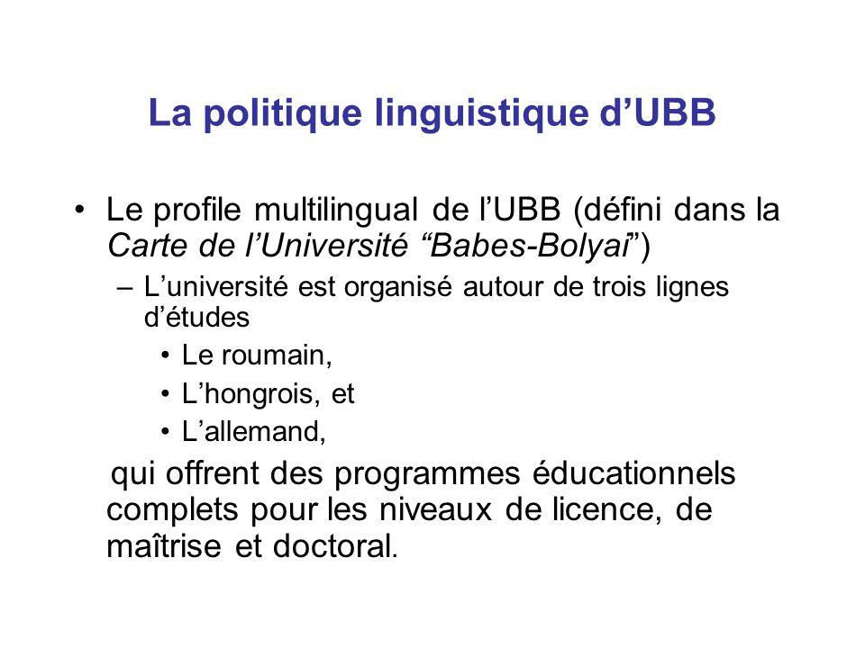 Le profile multilingual de l'UBB (défini dans la Carte de l'Université Babes-Bolyai ) –L'université est organisé autour de trois lignes d'études Le roumain, L'hongrois, et L'allemand, qui offrent des programmes éducationnels complets pour les niveaux de licence, de maîtrise et doctoral.