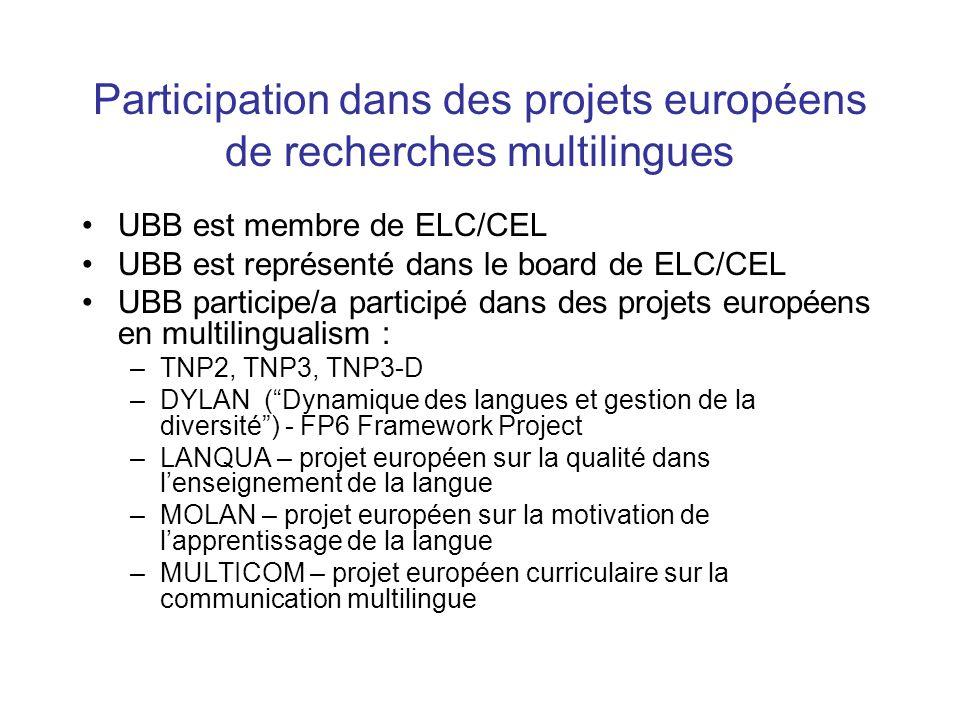 Participation dans des projets européens de recherches multilingues UBB est membre de ELC/CEL UBB est représenté dans le board de ELC/CEL UBB participe/a participé dans des projets européens en multilingualism : –TNP2, TNP3, TNP3-D –DYLAN ( Dynamique des langues et gestion de la diversité ) - FP6 Framework Project –LANQUA – projet européen sur la qualité dans l'enseignement de la langue –MOLAN – projet européen sur la motivation de l'apprentissage de la langue –MULTICOM – projet européen curriculaire sur la communication multilingue