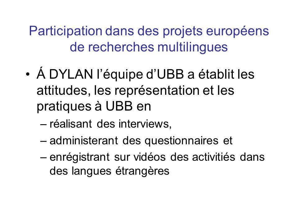 Participation dans des projets européens de recherches multilingues Á DYLAN l'équipe d'UBB a établit les attitudes, les représentation et les pratiques à UBB en –réalisant des interviews, –administerant des questionnaires et –enrégistrant sur vidéos des activitiés dans des langues étrangères