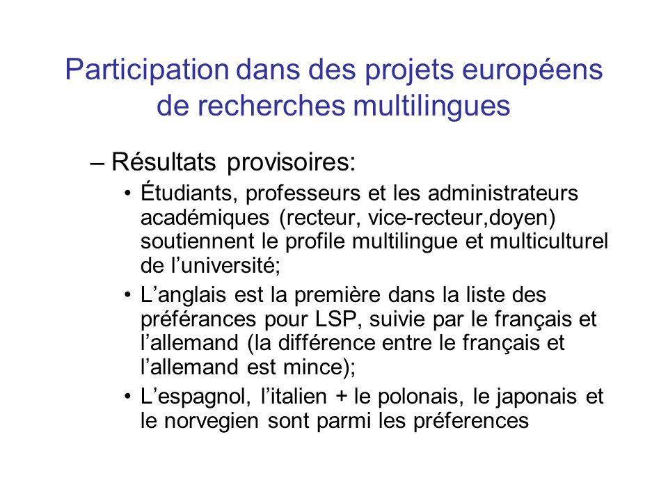 Participation dans des projets européens de recherches multilingues –Résultats provisoires: Étudiants, professeurs et les administrateurs académiques (recteur, vice-recteur,doyen) soutiennent le profile multilingue et multiculturel de l'université; L'anglais est la première dans la liste des préférances pour LSP, suivie par le français et l'allemand (la différence entre le français et l'allemand est mince); L'espagnol, l'italien + le polonais, le japonais et le norvegien sont parmi les préferences