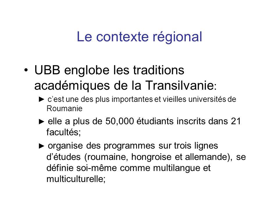 Le contexte régional UBB englobe les traditions académiques de la Transilvanie : ► c'est une des plus importantes et vieilles universités de Roumanie ► elle a plus de 50,000 étudiants inscrits dans 21 facultés; ► organise des programmes sur trois lignes d'études (roumaine, hongroise et allemande), se définie soi-même comme multilangue et multiculturelle;