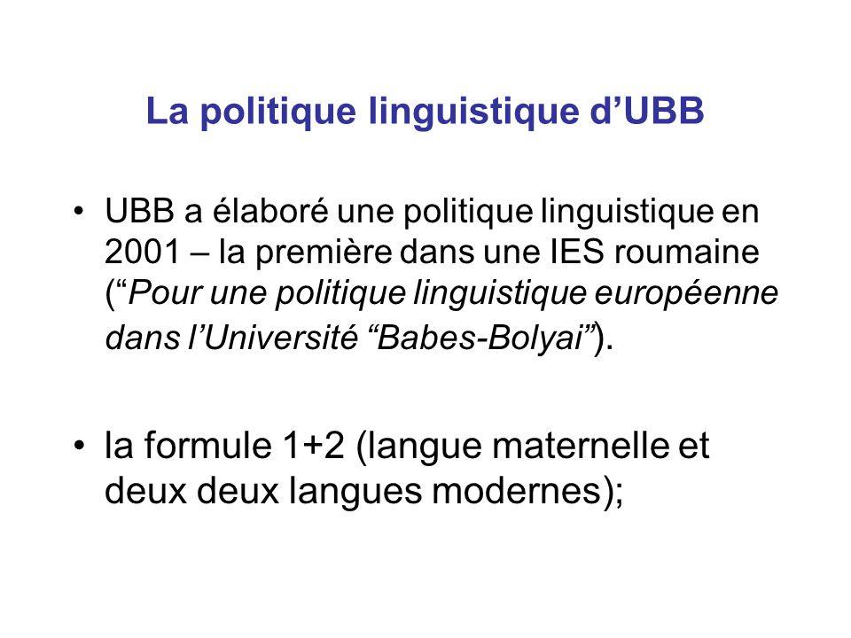 La politique linguistique d'UBB UBB a élaboré une politique linguistique en 2001 – la première dans une IES roumaine ( Pour une politique linguistique européenne dans l'Université Babes-Bolyai ).