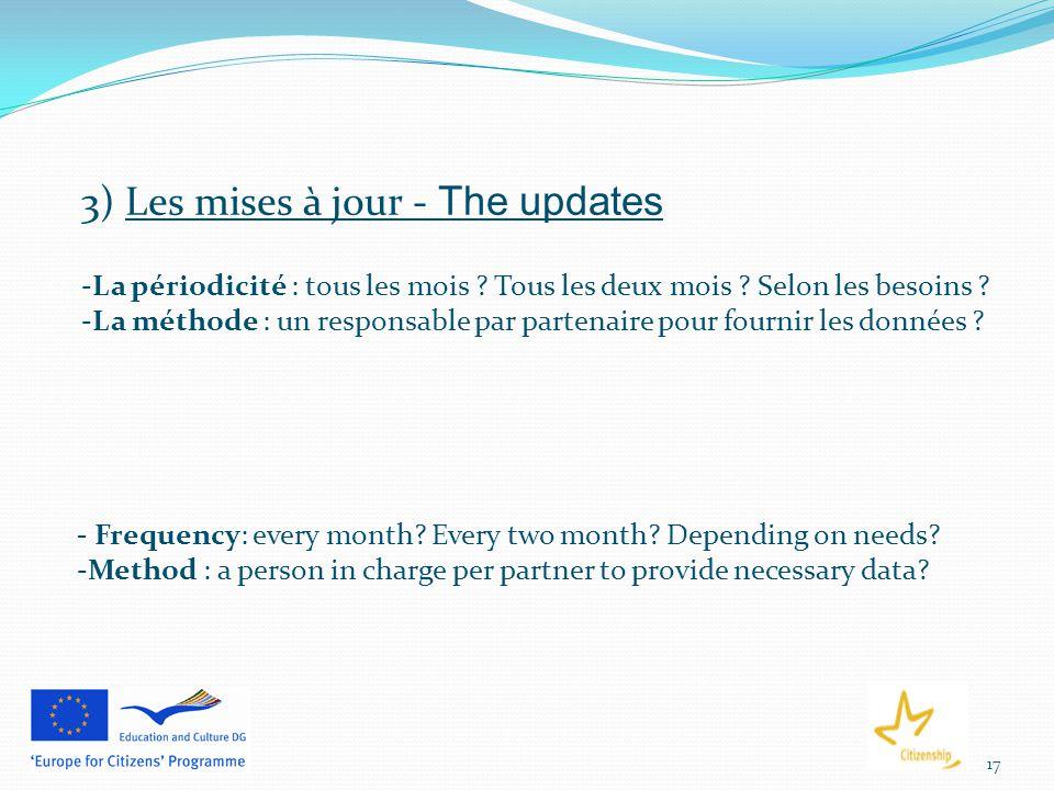 17 3) Les mises à jour - The updates -La périodicité : tous les mois .