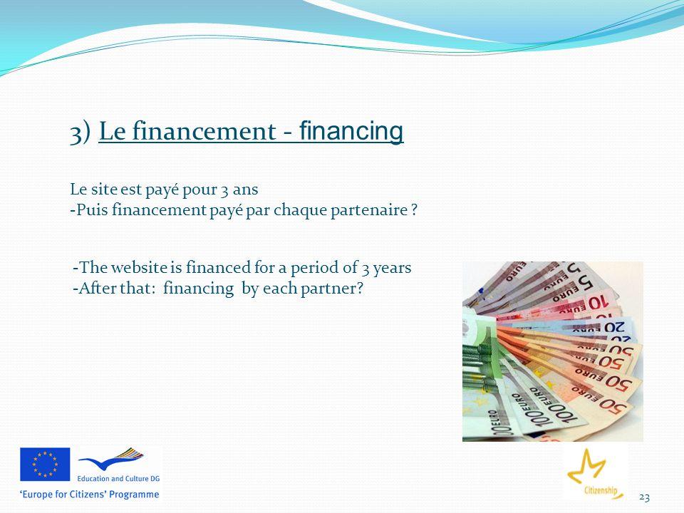 23 3) Le financement - financing Le site est payé pour 3 ans -Puis financement payé par chaque partenaire .