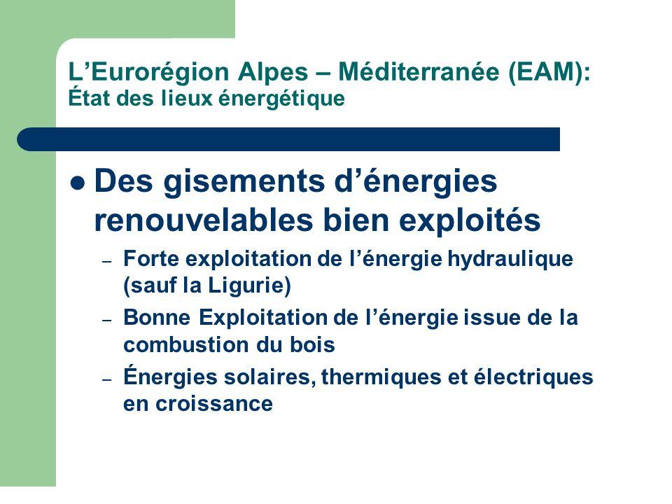 L'Eurorégion Alpes – Méditerranée (EAM): État des lieux énergétique Des gisements d'énergies renouvelables bien exploités – Forte exploitation de l'énergie hydraulique (sauf la Ligurie) – Bonne Exploitation de l'énergie issue de la combustion du bois – Énergies solaires, thermiques et électriques en croissance