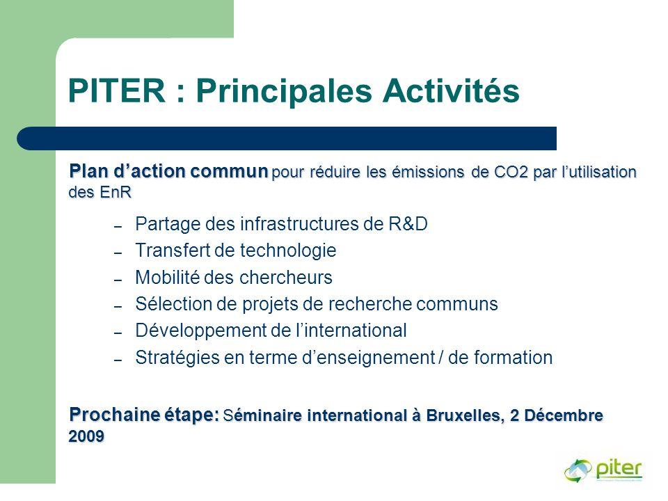PITER : Principales Activités Plan d'action commun pour réduire les émissions de CO2 par l'utilisation des EnR – Partage des infrastructures de R&D – Transfert de technologie – Mobilité des chercheurs – Sélection de projets de recherche communs – Développement de l'international – Stratégies en terme d'enseignement / de formation Prochaine étape: Séminaire international à Bruxelles, 2 Décembre 2009
