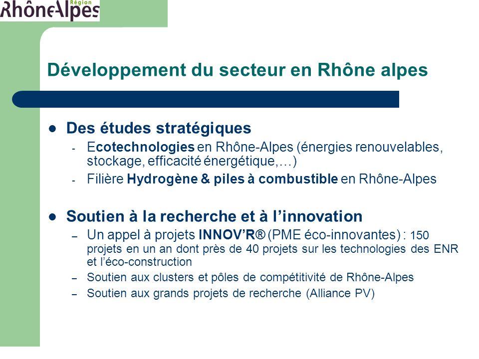 Autres opérations soutenues Des études stratégiques - Ecotechnologies en Rhône-Alpes (énergies renouvelables, stockage, efficacité énergétique,…) - Filière Hydrogène & piles à combustible en Rhône-Alpes Soutien à la recherche et à l'innovation – Un appel à projets INNOV'R® (PME éco-innovantes) : 150 projets en un an dont près de 40 projets sur les technologies des ENR et l'éco-construction – Soutien aux clusters et pôles de compétitivité de Rhône-Alpes – Soutien aux grands projets de recherche (Alliance PV) Développement du secteur en Rhône alpes